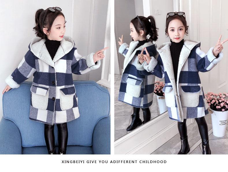 novo xadrez grosso cashmere casacos menina longo