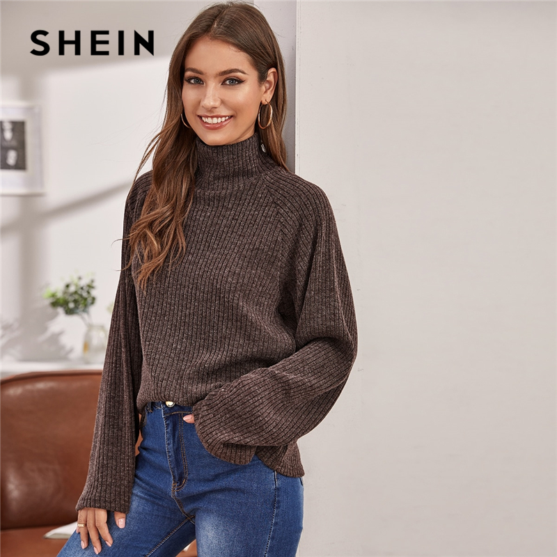 SHEIN High Neck Solid Ribbed knit Women Casual Spring Sweater Long Sleeve Stretchy Basic Office Ladies Winter Sweaters Tops 2