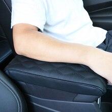 Braço do carro esteira onda bordar centro console braço resto proteção almofada couro do plutônio automático braços caixa de armazenamento capa almofada
