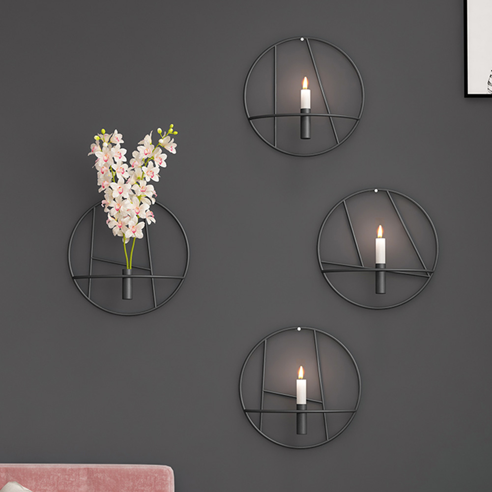 3d Circle Wall Mounted Candle Holder Modern Candlesticks For Candles Metal Home Wall Hanging Candelabros Candlesticks Home Decor Candle Holders Aliexpress
