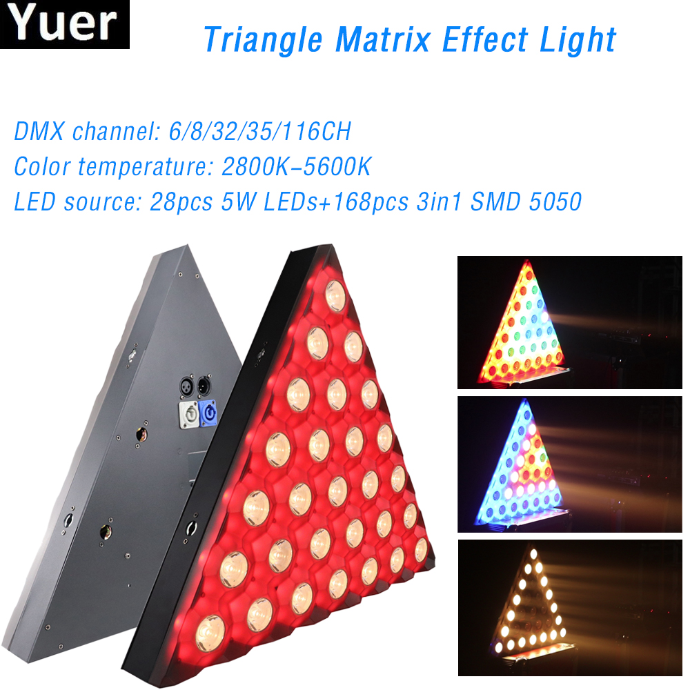 28X5W RGB 3IN1 Triangle Matrix Stage Light Effect Background Light DMX512 Control Beam Wash 2IN1 Point Control DJ Disco Bar Club