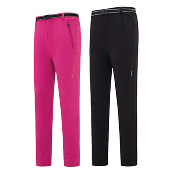 Men and women winter soft shell fleece quick-drying trousers plus velvet waterproof windproof ski XL