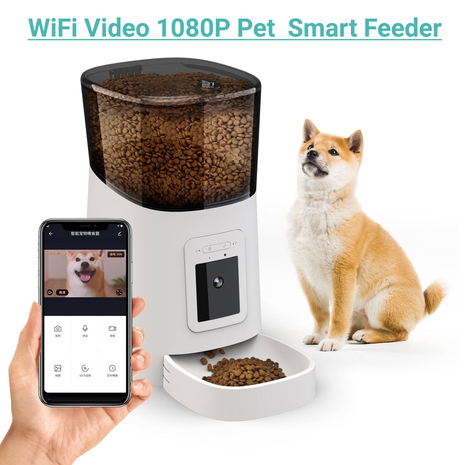 6L Smart Pet Feeder WiFi Video 1080P Automatic Food Dispenser For Cats and Dogs Travel Supply Auto Feeding Machine Dog Food Bowl