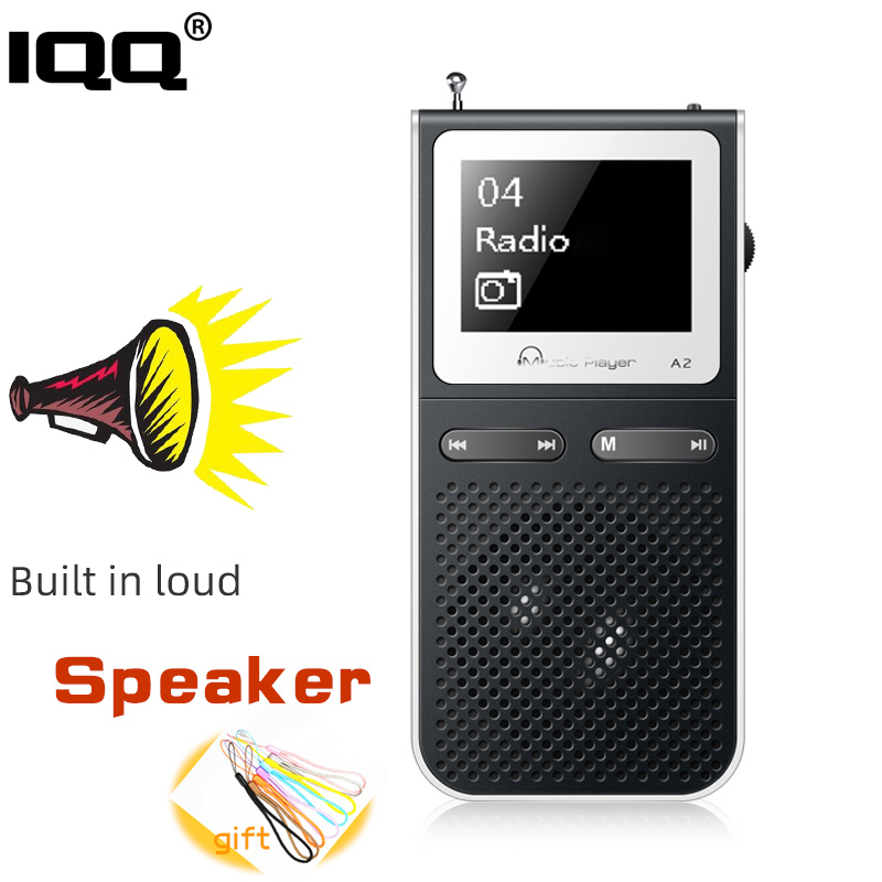 IQQ Hifi Mp3 Player With Lound Speak And 8GB Can Playing 100Hours Built In FM  Radio Support Expand  Up To 128GB Portable Player