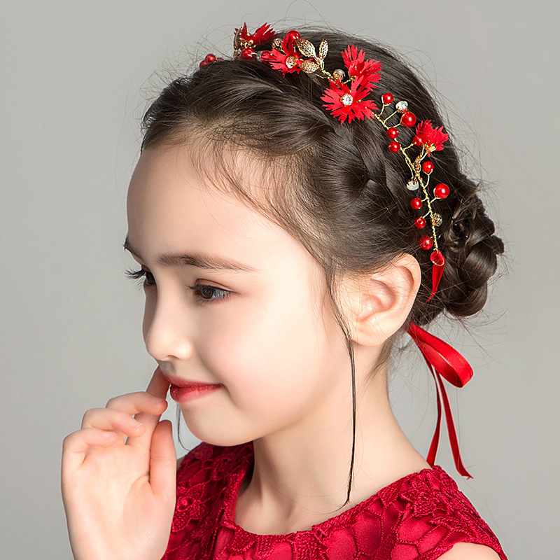 Girls Red Chrysanthemum Wreath Golden Leaf Hair Accessories Children's Crown Frozen Princess Birthday Party Gift Wholesale