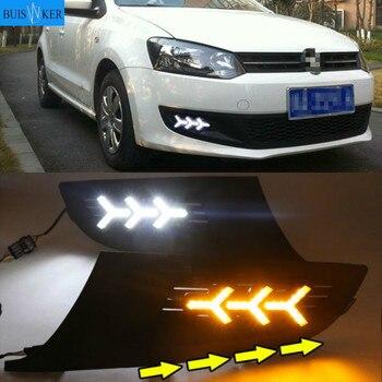 1Set LED DRL Daytime Running Light LED headlight car styling 12v ABS Fog Lamp Cover For Volkswagen Polo 2011 2012 2013
