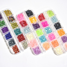 1 Box 12 Squares Nail Art Rhinestone Bow/Flower Mixed Colorful DIY Nail Art 3D Decoration ccessories Nail Stones Decors DIY Tips недорого