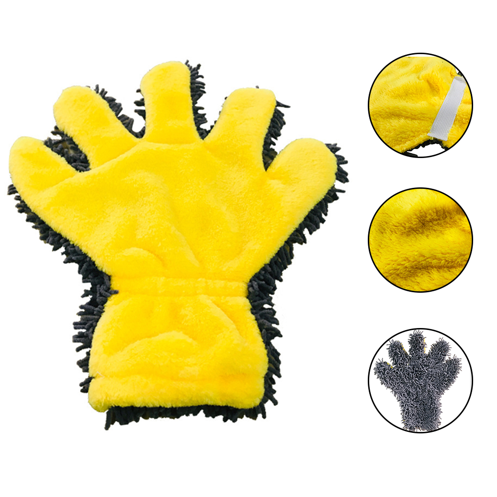 Five Fingers Car Wash Gloves Multi-Function Cleaning Gloves Two Side Microfiber Dust Remove Tools