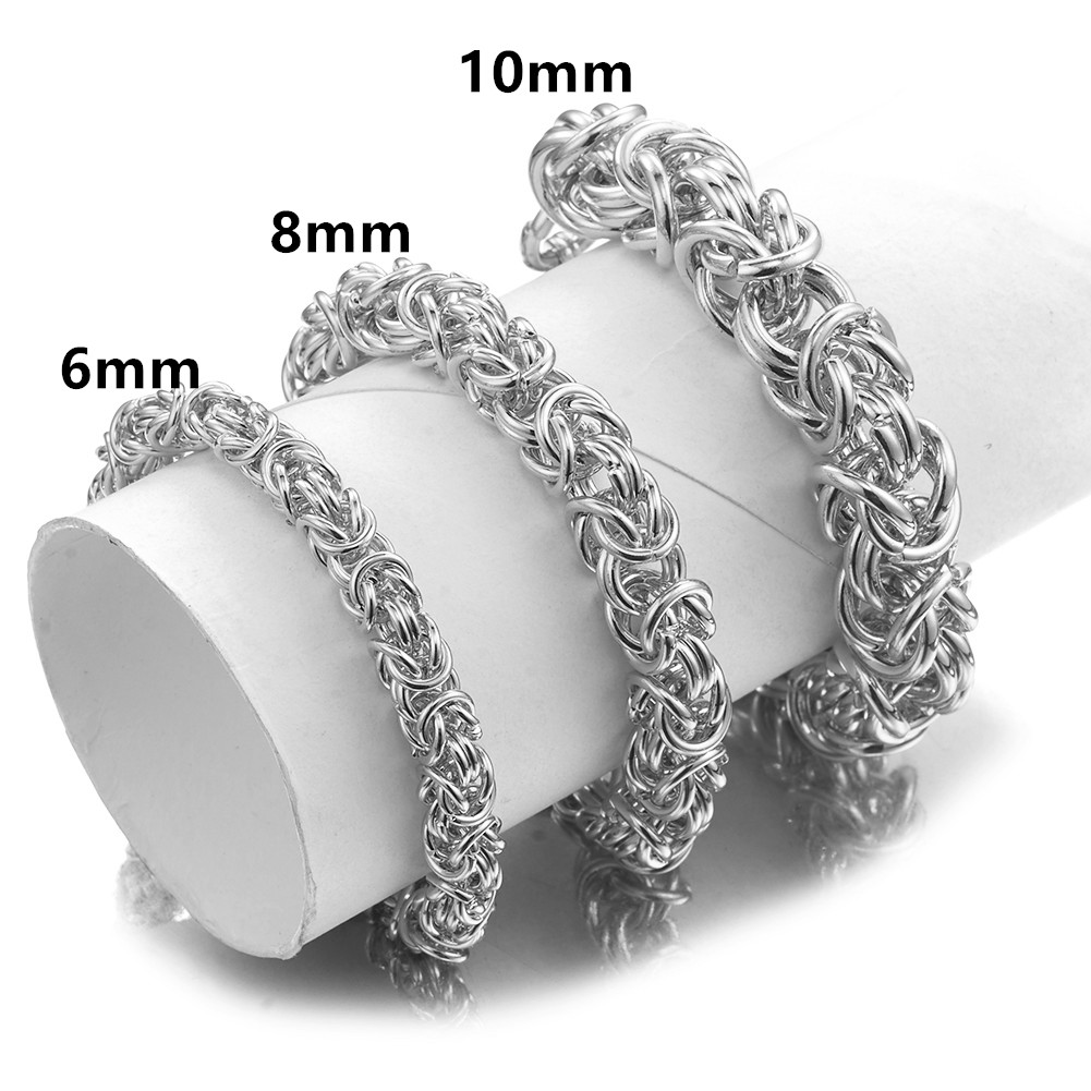 Granny Chic 6/8/10mm Handmade Men Bracelet Punk Style High Quality Stainless Steel Silver Bracelets Male Mens Jewelry