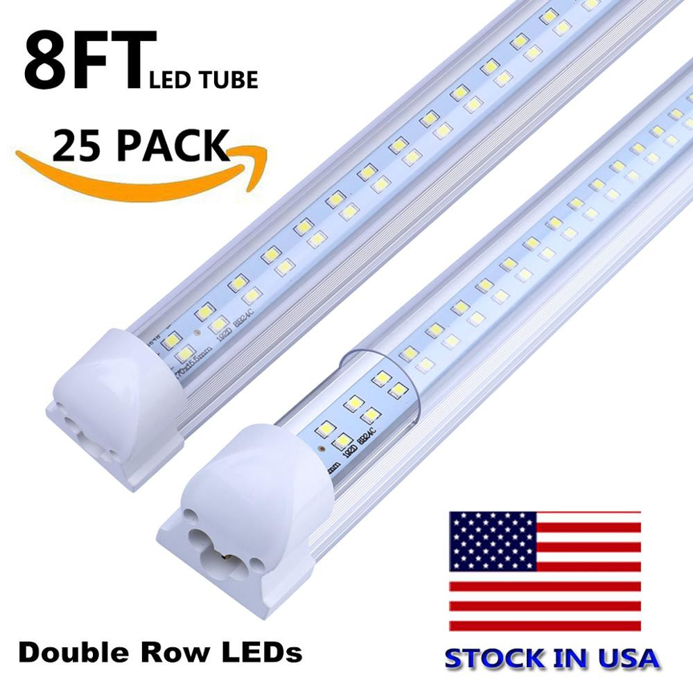 8FT LED Tube Light Super Bright 72W SMD2835 LED Bulb Cold White 6000K 2.4M 8 FT LED Tube Lamp Shop Warehouse Light Stock In US