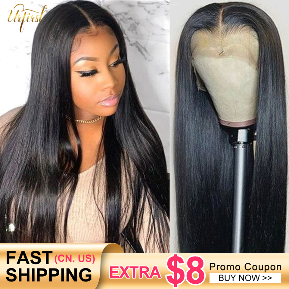Urfirst Bone Straight Lace Front Wig Brazilian 13x4 Transparent Lace Front Human Hair Wigs Remy 5x5 Lace Closure Wig Pre Plucked