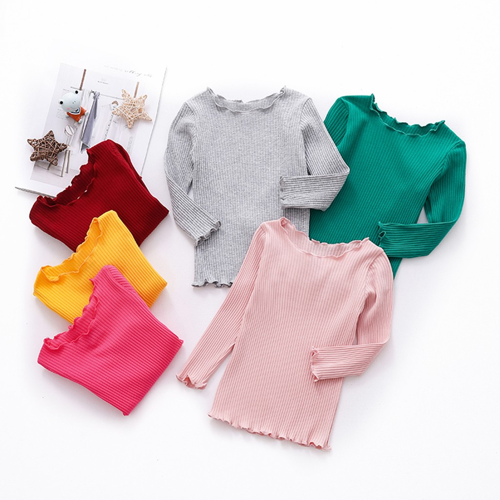 Girl T-Shirt Clothing Tops Long-Sleeve Toddler Autumn Kids Children Solid Wave-Edge
