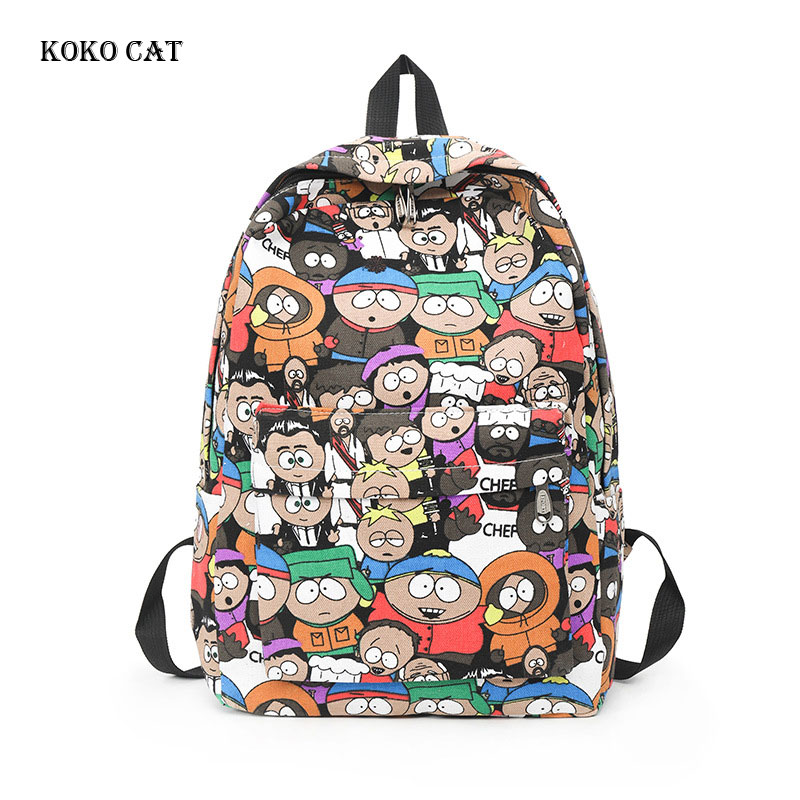 Funny Cartoon Printing Mini Backpacks Women Canvas Backpack School Bags For Teenage Girls Bookbag Casual Dailypack Bag Mochila