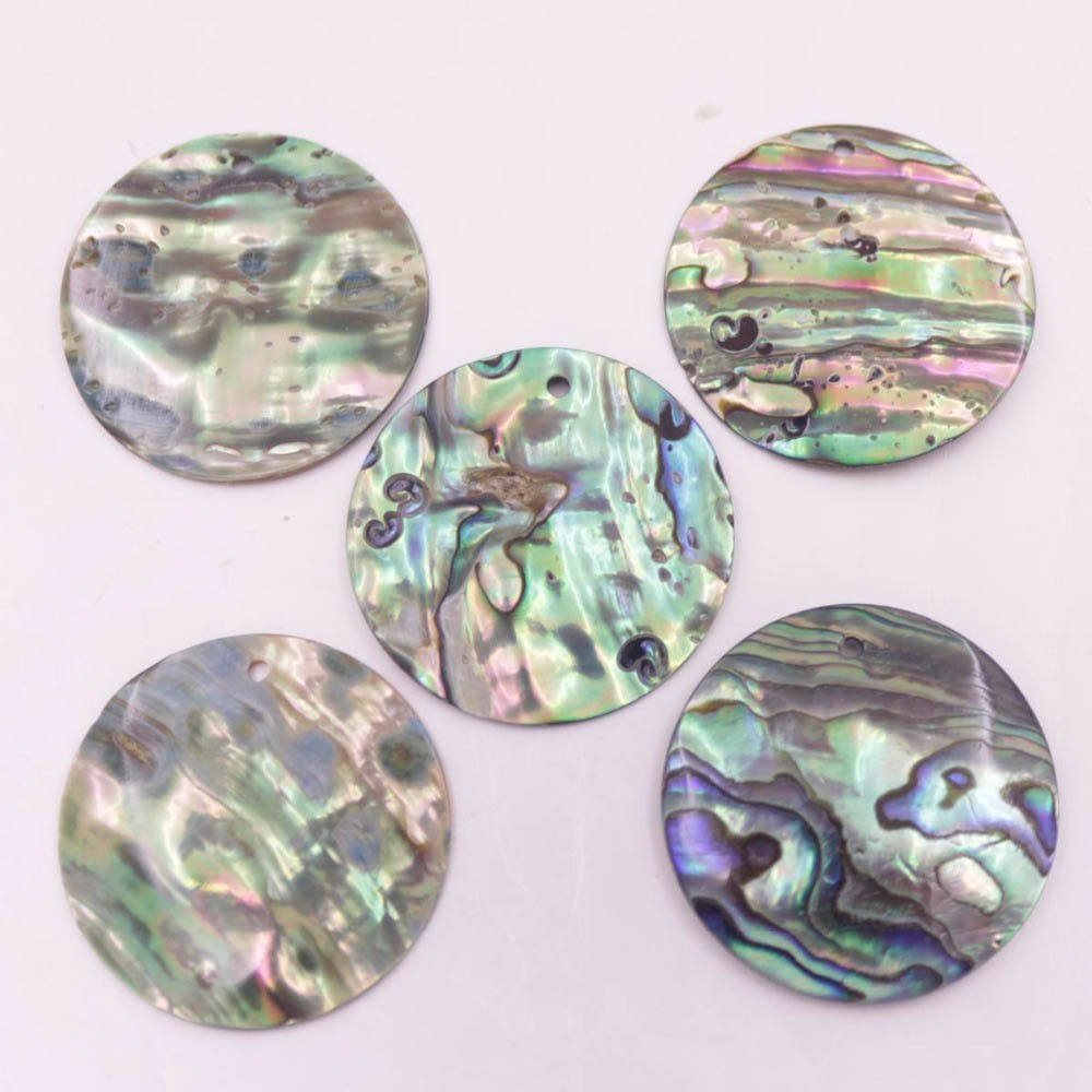 Купить с кэшбэком 5 PCS  Round Coin Natural Green Abalone paua Shell Earring Pendant Making 10mm 12mm 15mm 30mm Choose