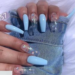 Fake nails overhead with glue coffin artificial nails tips with designs press on nail false nails set professional nail art tool