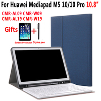 Detach Wireless Bluetooth Keyboard Pencil Holder Case for Huawei Mediapad M5 10 Pro 10.8 with Screen Protector Film Stylus Pen