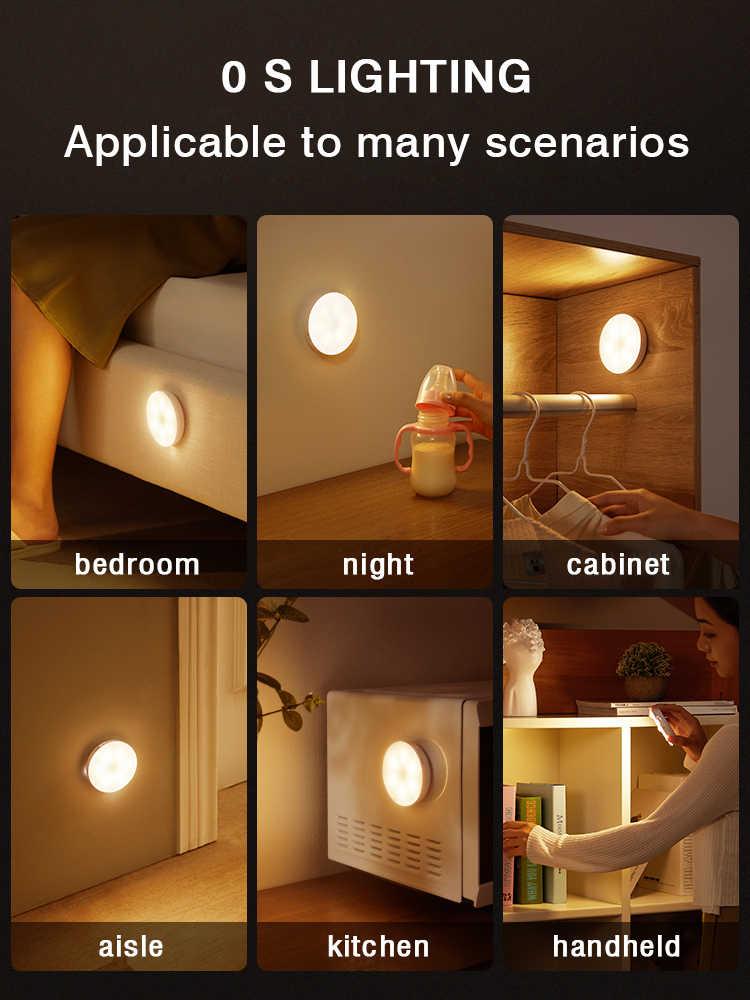 שינה דקור לילה אורות חיישן תנועת לילה מנורת ילדים מתנה USB טעינה שינה קישוט Led לילה אור MOONSHADOW