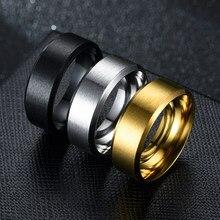 Anel masculino moda glamour jóias masculino anel de aço inoxidável preto senhoras