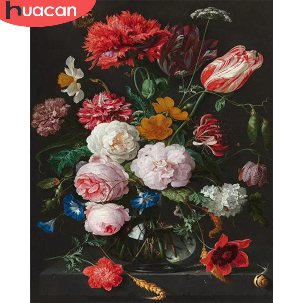 HUACAN Oil Painting Flowers Drawing On Canvas HandPainted Picture By Numbers Kits Art Gift DIY Home Decoration