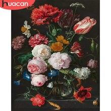 Huacan pintura a óleo flores desenho sobre tela pintados à mão imagem por números kits arte presente diy decoração para casa