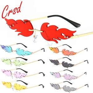 Wave Sunglasses Fire-Flame Rimless Trending CRSD Fashion UV400 Narrow