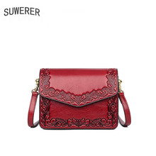 SUWERER 2019 new cow leather for women genuine bag embossed fancy shoulder designer