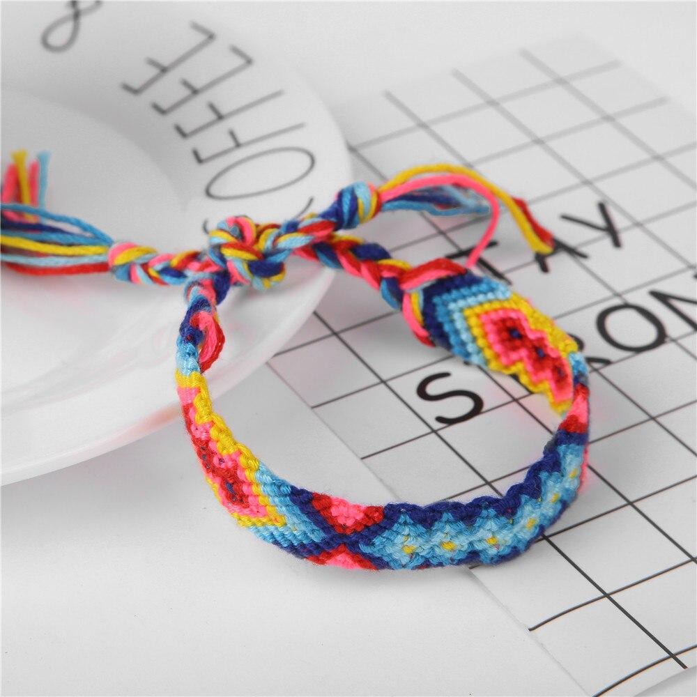 Pulseras de la amistad de la cuerda del tejido del estilo bohemio para la mujer de los hombres pulseras y brazaletes hechos a mano del encanto del algodón joyería étnica regalos