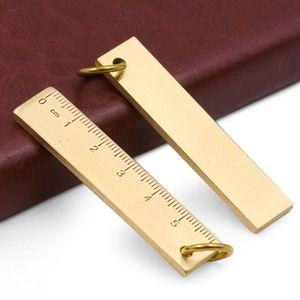 Портативный 6 см маленькая медная линейка 3 мм утолщенная латунная металлическая линейка брелок правило E7CB