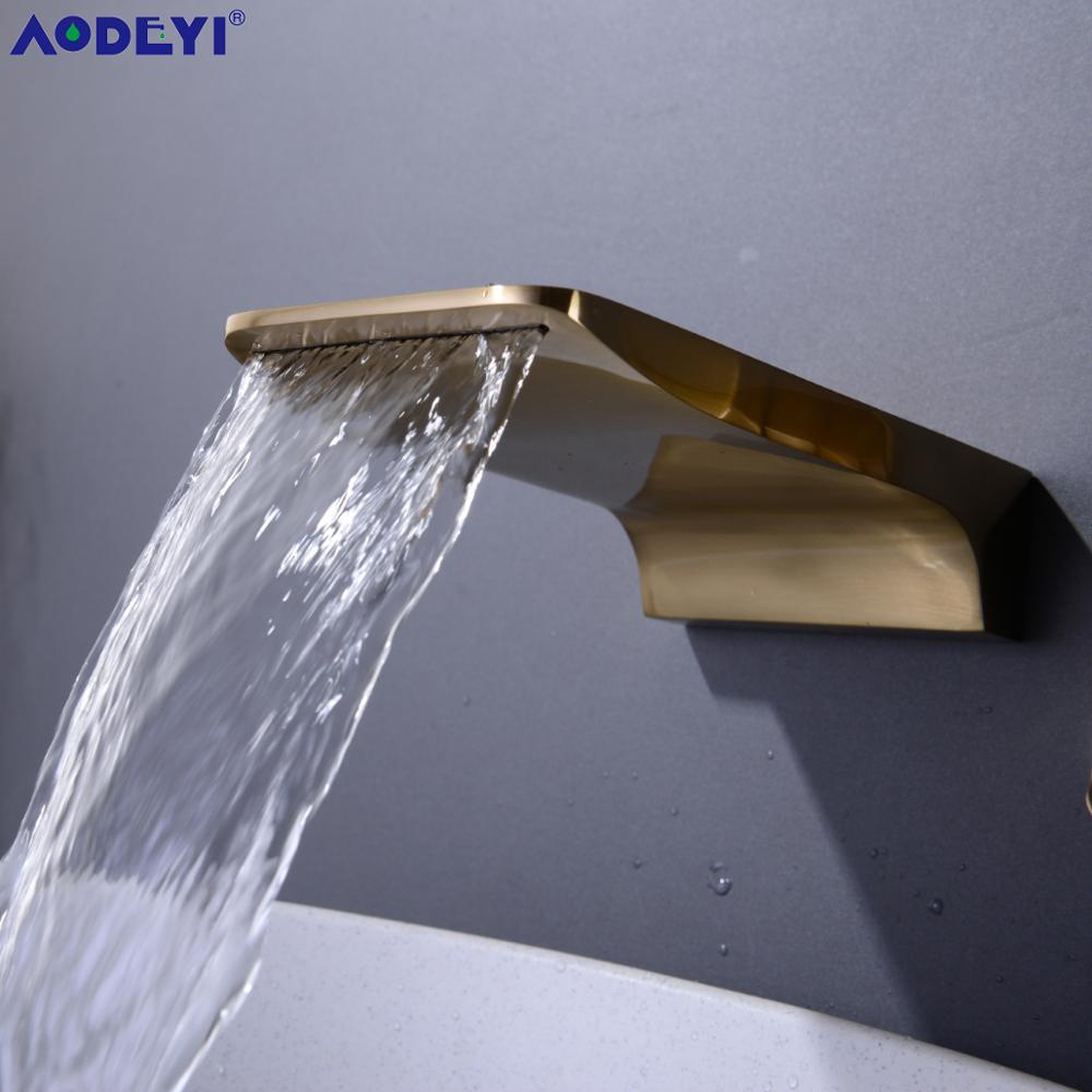 AODEYI robinet bec, plat salle de bain bassin évier sortie d'eau remplacement, Valve non inclus, noir mat, Chrome, or brossé