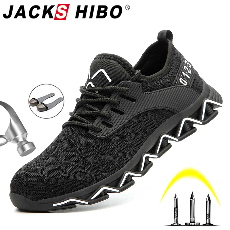 JACKSHIBO/Новый дизайн; Безопасная рабочая обувь; ботинки для мужчин; нескользящие ботинки со стальным носком; Мужская Строительная обувь; защитные ботинки; кроссовкиЗащитная обувь   -
