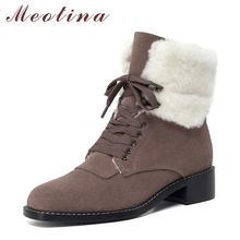 Женские ботильоны на квадратном каблуке meotina зимние короткие