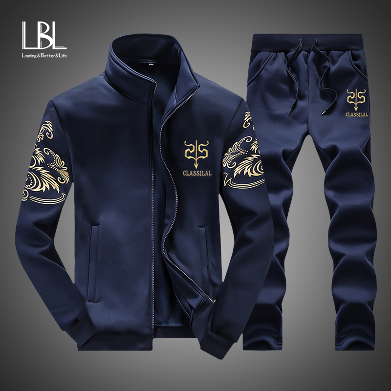 Autumn Tracksuit Men 2019 Sportswear Fashion Mens Set 2 Pieces Zipper Hooded Zipper Sweatshirt +Sweatpant Moleton Masculino Sets