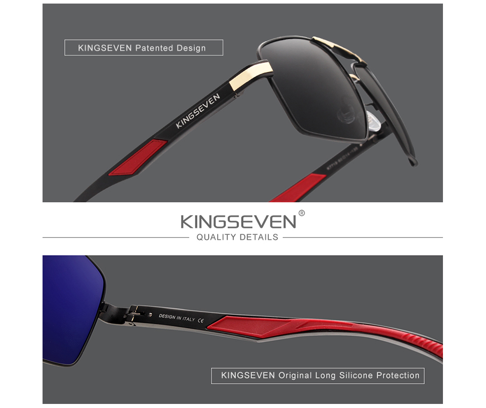KINGSEVEN Brand 2020 New Polarized Men Sunglasses Square Aluminum Frame Male Sun Glasses Driving Fishing Eyewear Zonnebril N7719