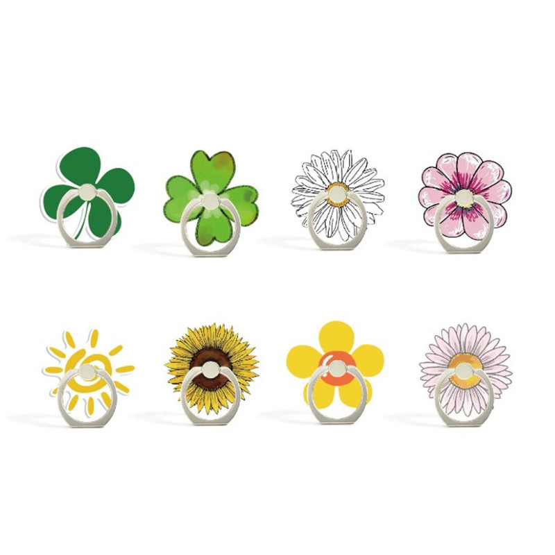 Cartoon Sunflower Rose Flower Phone Finger Ring Mobile Phone Stand Holder For IPhone Huawei Acrylic Phone Holder All Smartphone