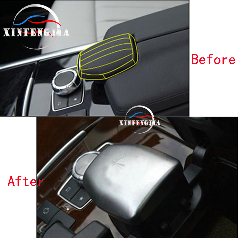 Aluminum Alloy Inner Front Central Armrest Box Trim Cover Accessories For Benz E Class W212 2012-2016,CLS W218 2012-2017