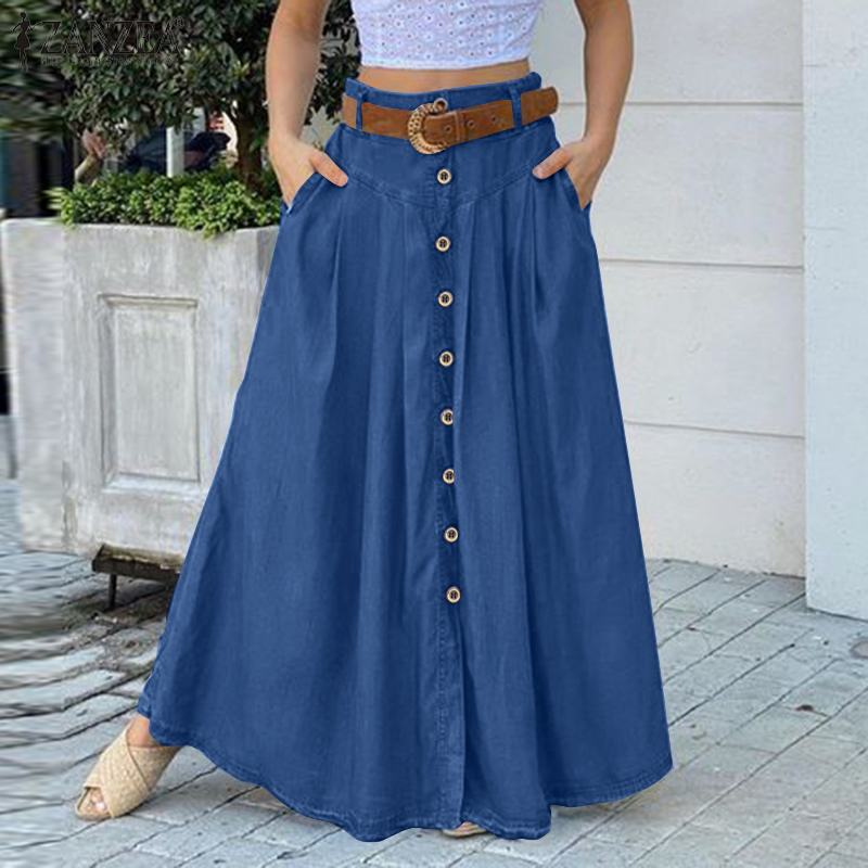 ZANZEA élégant femmes jupes décontracté boutons vers le bas Faldas Saia élégant fête jupes Jupe 5XL printemps haute Wasit solide Jupe longue