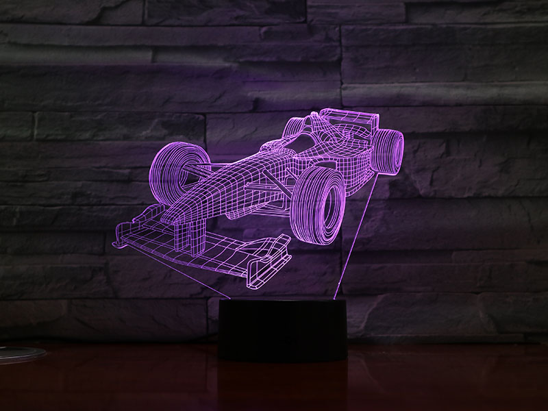 Formula 1 Racing Car 3D Lamp Multi-color With Remote For Birthday Gift Battery Powered 3D Optical Led Night Light Lamp Hologram