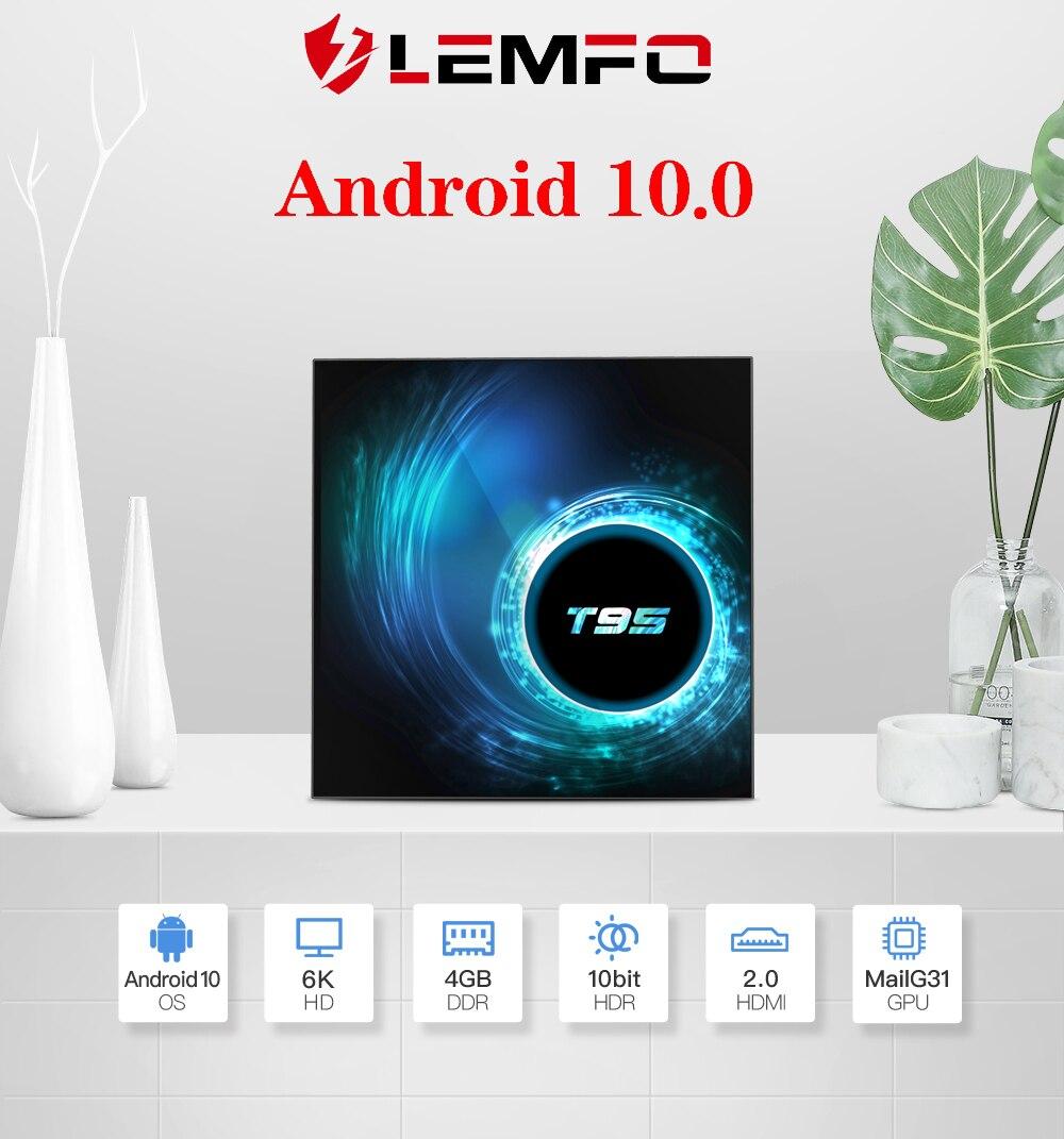 LEMFO T95 Smart TV Box Android 10 0 4GB 32GB 64GB Quad Core 1080P H 265 6K Ko di YouTube Media player 2020 Newest Set top box