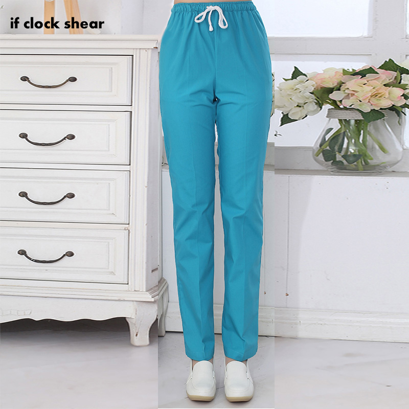 IF Dental Medical Scrub Pants Hospital Nursing Work Trousers SPA Nursing Scrub Pants Cotton More Pockets Doctor Uniform Bottoms