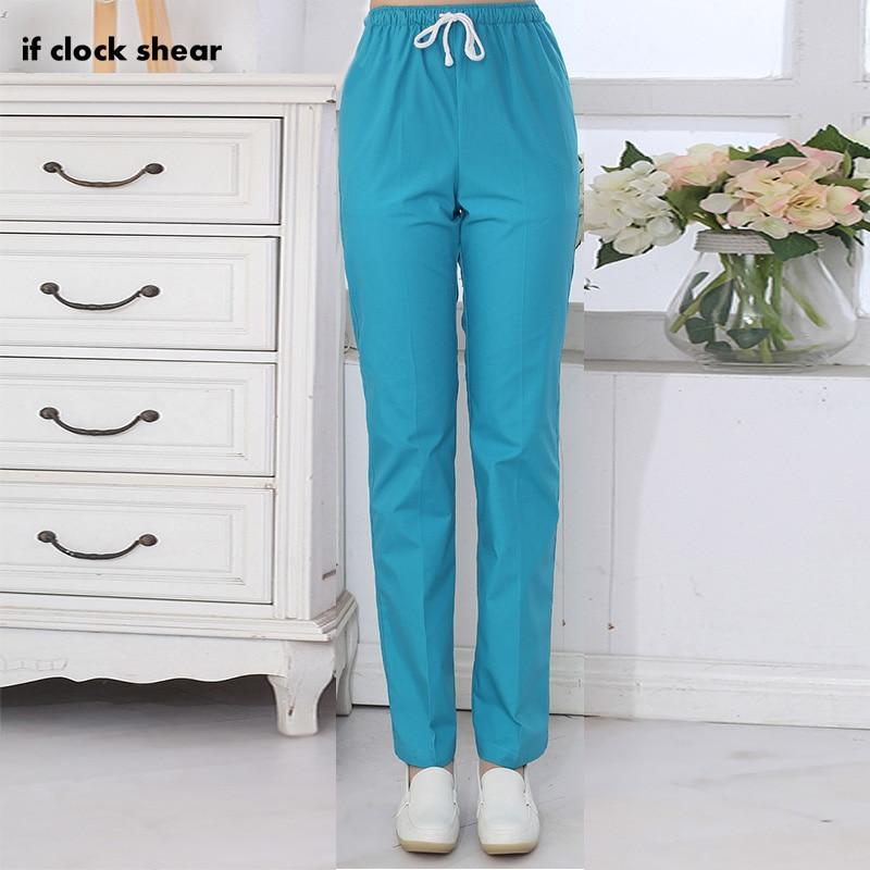 IF Dental Medical Scrub Pants Hospital Nursing Work Trousers SPA Nursing Scrub Pants Cotton More Pockets Doctor Uniform Bottoms