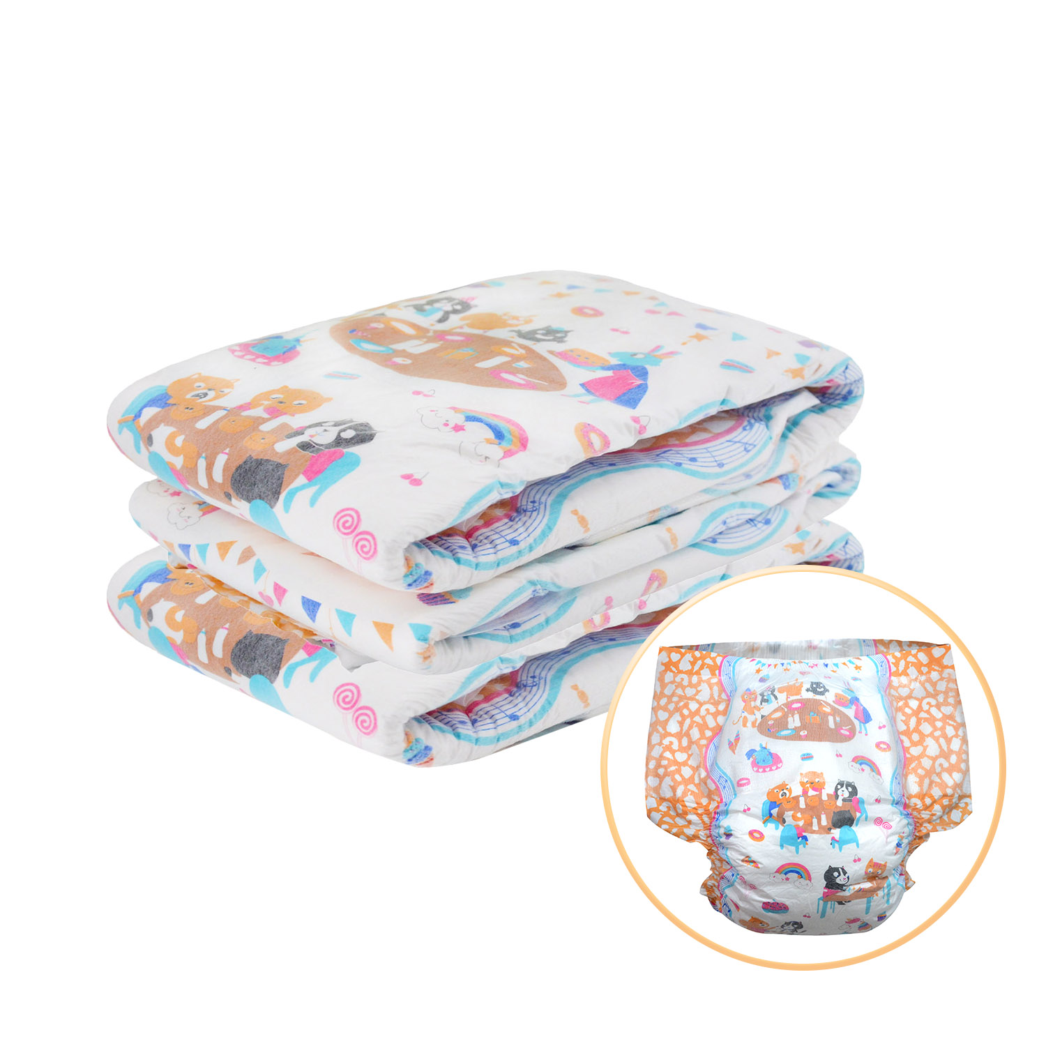 Rainbow Week Diaper ABDL Extra Large Size Diaper Elastic Waistline DDLG Adult Diaper Dummy Dom 6000ml Absorbtive 3pcs In A Pack