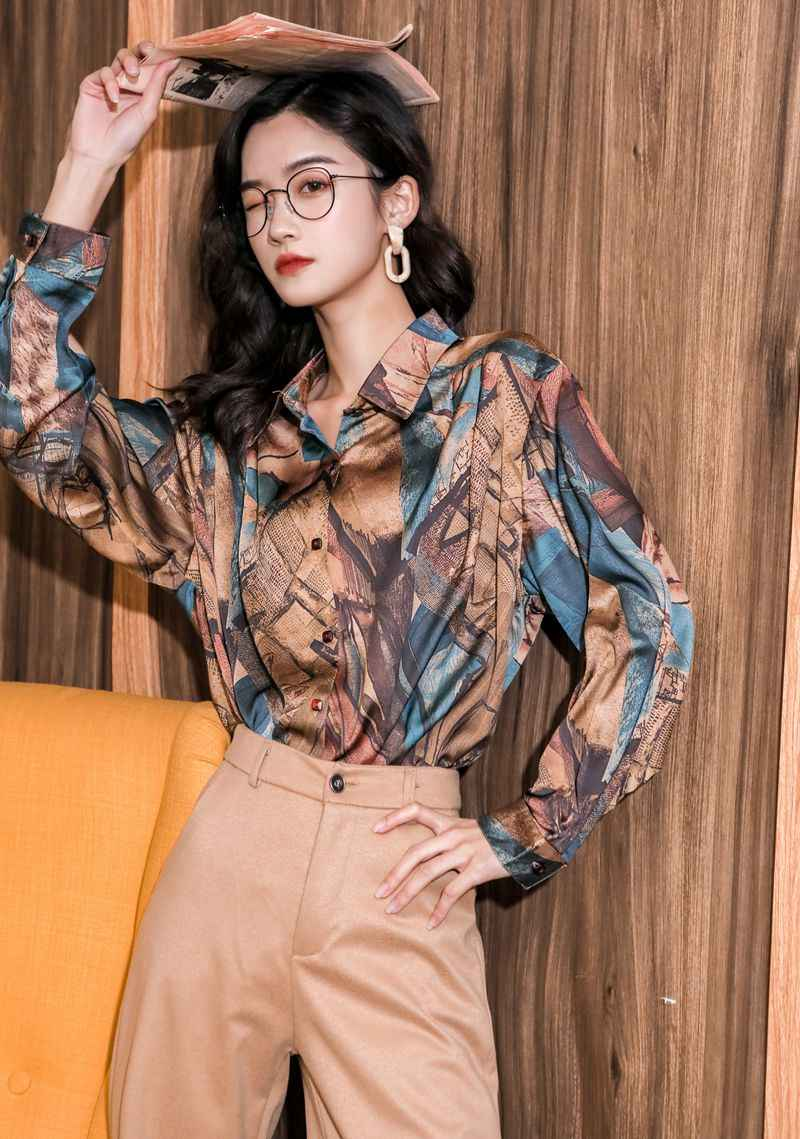 CHEERART Barock Vintage Bluse Langarm Button Up Hemd Frauen Tops Und Blusen Colorblock Drucken Mode 2020