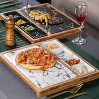 Imitation marble Western steak plate set creative snack dish pizza plate family restaurant ceramic tableware bamboo wooden tray