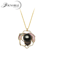 Real 925 Sterling Silver Black Pearl Necklace Women,Bridal Flower Natural Pearl Pendant Birthday Gift недорого
