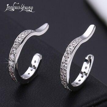 De moda de Blanco Simple Color oro brazalete de oído pendientes no perforados para las mujeres Micro Pave CZ Clip pequeño en pendientes de la joyería