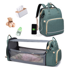 Diaper Bags USB Backpack Foldable Sunscreen Baby Bed Crib Bag Insulation Nursing Stroller Bag With Changing Mat Reflective Strip