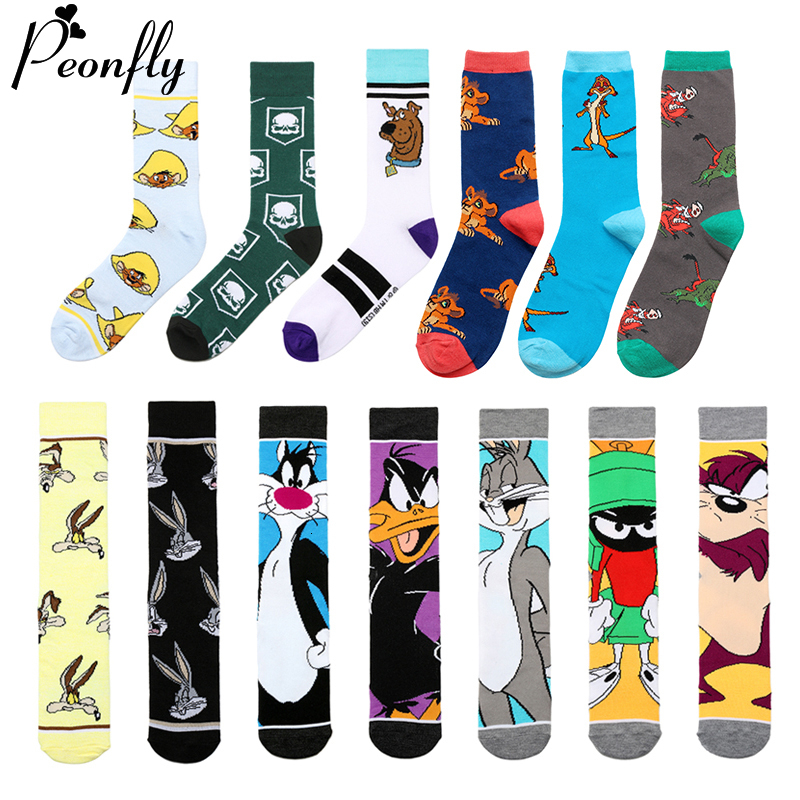 PEONFLY Funny Cartoon Socks Men Cute Animal Cat Dog Rabbit Printed Colorful Cotton Crew Socks Creative Novelty Socks For Gifts
