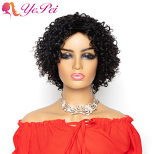 Kinky Curly Wig Short Bob Human Hair Wigs Brazilian Remy Glueless Wigs 150% Density For Women Natural Color Yepei Hair
