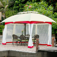 3x3 meter outdoor aluminum patio gazebo tent garden shade pavilion roof furniture house rain protection with gauze and sidewalls
