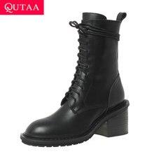 QUTAA/ г. Противоскользящие короткие ботинки универсальная женская обувь на квадратном каблуке со шнуровкой на молнии ботинки до середины икры из коровьей кожи с круглым носком размер 34-39